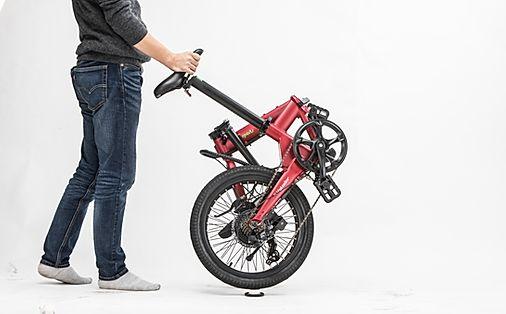 折りたたんで転がせる電動アシスト自転車VELMO-Q2 赤